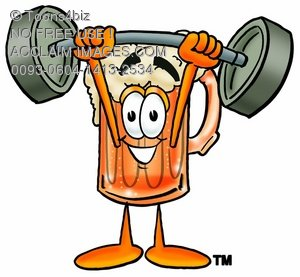 Cartoon Beer Mug Character Lifting Weights
