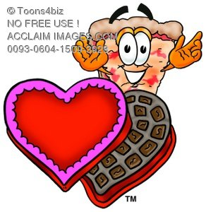 Cartoon Pizza Character with Valentine