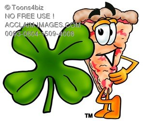 Cartoon Pizza Character with a Four Leaf Clover