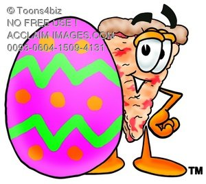 Cartoon Pizza Character with an Easter Egg