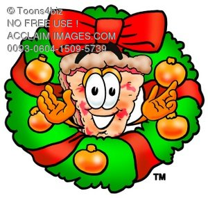 Cartoon Pizza Character with a Christmas Wreath
