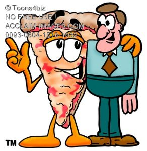 Cartoon Pizza Character with a Businessman