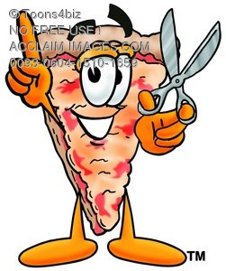 Cartoon Pizza Character with Scissors and Pointing Finger Up