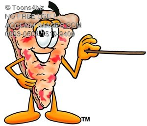 Cartoon Pizza Character Pointing a Pointer Stick