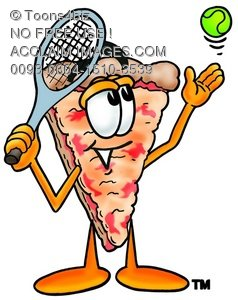 Cartoon Pizza Character Playing Tennis