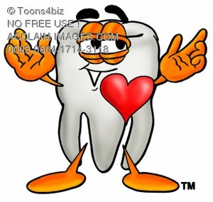 Cartoon Tooth Character with a Heart