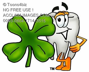 Cartoon Tooth Character Beside a Four Leaf Clover