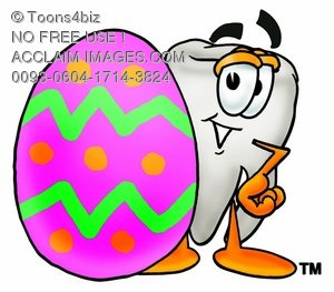 Cartoon Tooth Character with an Easter Egg