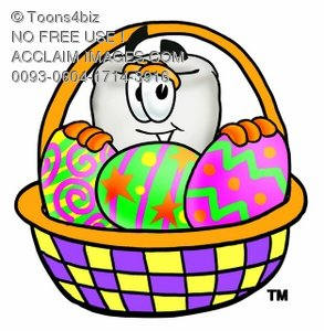 Cartoon Tooth Character with Easter Egg Basket