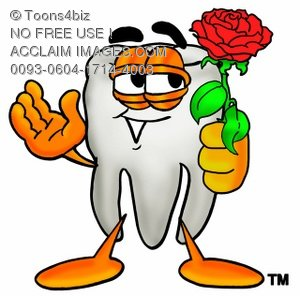 Cartoon Tooth Character Holding a Flower