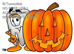 Cartoon Tooth Character Beside Halloween Pumpkin