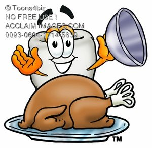 Cartoon Tooth Character Uncovering a Thanksgiving Turkey