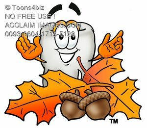 Cartoon Tooth Character with Fall Leaves and Acorns