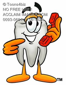 Cartoon Tooth Character Holding and Pointing to a Phone