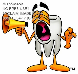 Cartoon Tooth Character Yelling at a Megaphone