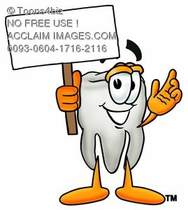 Cartoon Tooth Character Holding up a Blank Sign