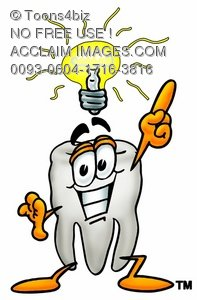 Cartoon Tooth Character with an Idea