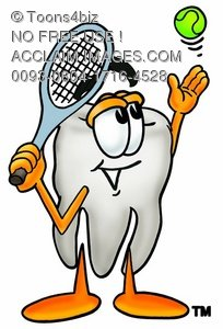 Cartoon Tooth Character Playing Tennis