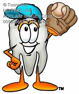 Cartoon Tooth Character Playing Baseball