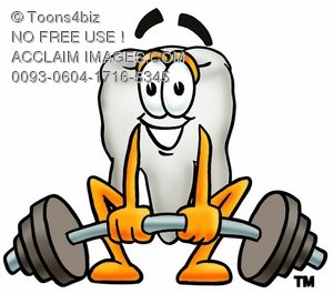 Cartoon Tooth Character Lifting Weights