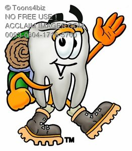 Cartoon Tooth Character Hiking