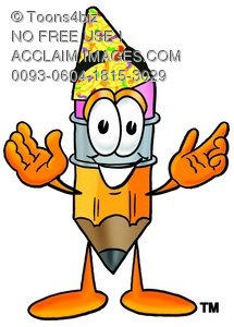 Cartoon Pencil Character Wearing a Party Hat