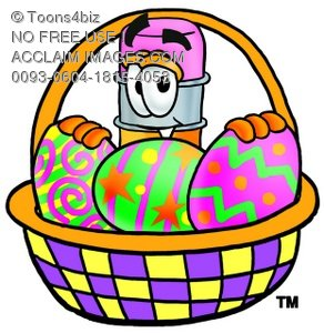 Cartoon Pencil Character with an Easter Egg Basket