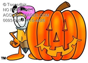Cartoon Pencil Character Beside a Halloween Pumpkin