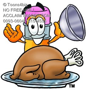 Cartoon Pencil Character Uncovering a Thanksgiving Turkey
