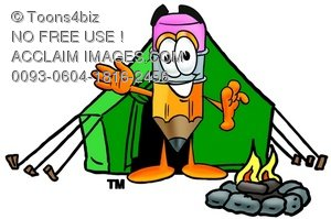 Cartoon Pencil Character Camping