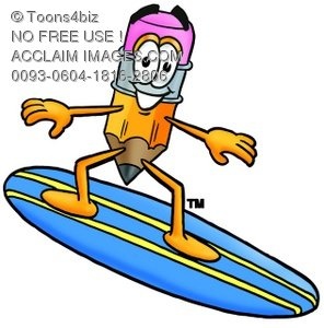 Cartoon Pencil Character Surfing