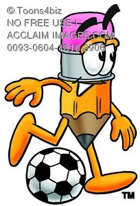 Cartoon Pencil Character Playing Soccer