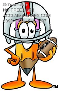 Cartoon Pencil Character Posing with Football Gear