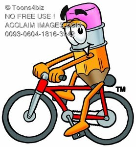 Cartoon Pencil Character Bicycling