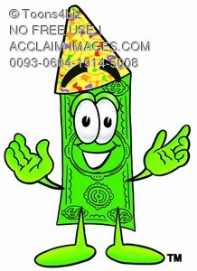 Cartoon Money Character Wearing Party Hat