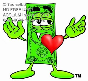 Cartoon Money Character with a Heart