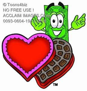 Cartoon Money Character with Valentine
