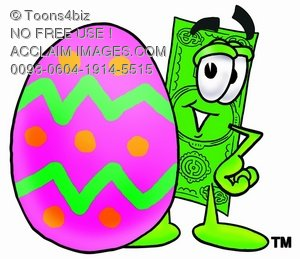 Cartoon Money Character Beside an Easter Egg