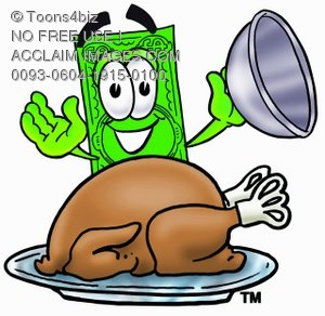 Cartoon Money Character Uncovering a Thanksgiving Turkey