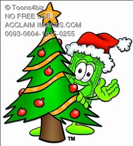 Cartoon Money Character Beside a Christmas Tree