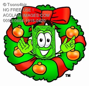 Cartoon Money Character in a Christmas Wreath