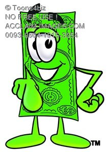 Cartoon Money Character Pointing Finger Forward