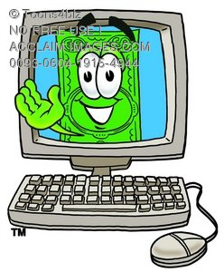 Cartoon Money Character Waving From a Computer Screen