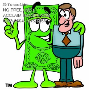 Cartoon Money Character with a Businessman