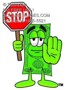 Cartoon Money Character Holding a Stop Sign