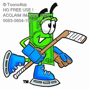 Cartoon Money Character Playing Hockey