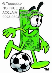 Cartoon Money Character Playing Soccer