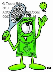 Cartoon Money Character Playing Tennis