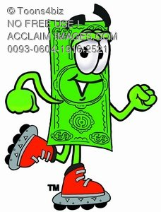 Cartoon Money Character Rollerblading