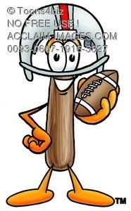 Hammer Cartoon Character Holding a Football and Wearing a Helmet